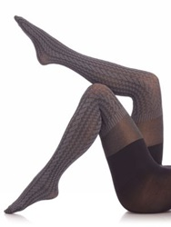 Spanx Cable Knit Over The Knee Tights Sweater Grey