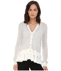 Mcq By Alexander Mcqueen Fabric Mix Cardigan Pale Grey Melange Ivory Women's Sweater Pink
