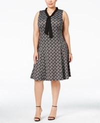 Ny Collection Plus Size Tie Neck Fit And Flare Dress Jet Plaidbox