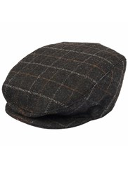 Dents Mens Check Flat Cap Black