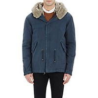 Mr And Mrs Italy Men's Fur Lined Canvas Short Parka Blue