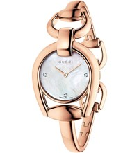 Gucci Ya139508 Horsebit Rose Gold And Mother Of Pearl Watch
