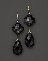 Bloomingdale's Faceted Black Onyx Clover Flower And Pear Drop 14K Gold Earring Yellow Black