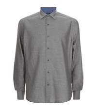 Corneliani Brushed Cotton Twill Shirt Male Grey