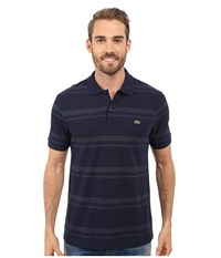 Lacoste Short Sleeve Bold Striped Pique Polo Navy Blue Dark Indigo Blue Men's Clothing