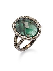 Bavna Champagne Diamond Emerald And Sterling Silver Ring
