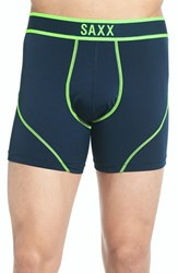 Saxx Men's 'Kinetic' Stretch Boxer Briefs Navy Neon Green