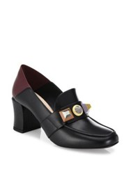 Fendi Rainbow Studded Leather Block Heel Loafer Pumps Black