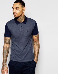 Asos Pique Muscle Polo With Contrast Sleeves And Embroidery In Navy Navy