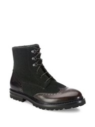 A. Testoni Wingtip Leather Boots Moro Bottle Green