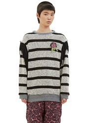 The Autonomous Collections Vote Rosette Striped Knit Sweater Black