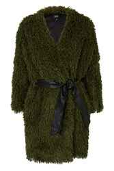 Aviation Khaki Furry Coat With Leather Pu Waist Tie By Goldie