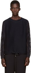 See By Chloe Navy Pointelle Sweater