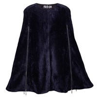 Ardent And Co Navy Stretchy Faux Fox Fur Cape Blue