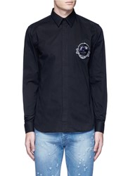 Givenchy Monkey Badge Patch Cotton Twill Shirt Black
