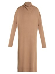 Balenciaga Drape Back Wool And Cashmere Blend Sweater Dress Camel