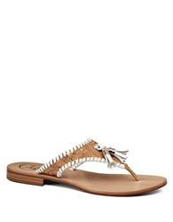 Jack Rogers Alana Leather Thong Sandals Cork White