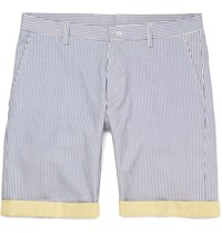 Etro Slim Fit Striped Cotton Shorts Blue