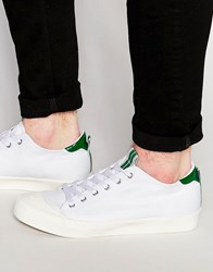 Asos Lace Up Plimsolls In White Canvas With Toe Cap And Tongue Tab White