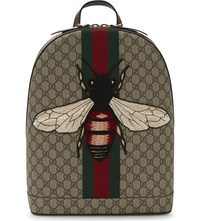 Gucci Bee Web Animalier Backpack Tan Multi