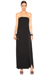 Sally Lapointe Double Faced Wool Crepe Long Slit Bustier In Black