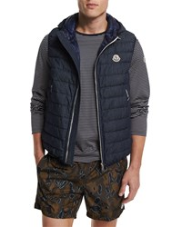 Moncler Dover Quilted Vest With Hood Navy Size 2