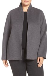 Eileen Fisher Plus Size Women's Brushed Wool Blend Double Face High Collar Jacket