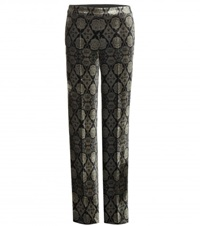 Etro Printed Velvet Trousers Green