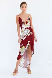 Astr Lucia Floral Tie Waist Midi Dress Red Multi