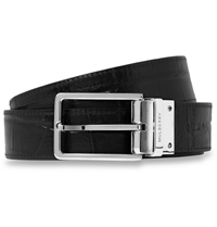 Mulberry Reversible 3Cm Crocodile Embossed Leather Belt Black