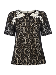 Max Mara Orma Short Sleeved Lace Front Top Black