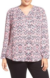 Sejour Plus Size Women's Roll Sleeve Henley Blouse Ivory Geometric Print