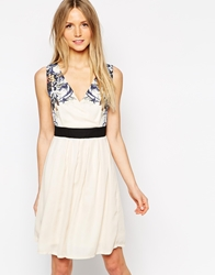 Jasmine Dress With Printed Shoulders And Banded Waist Cream