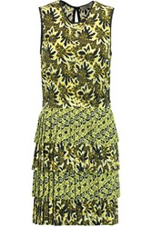 Etro Floral Print Silk Crepe Dress Yellow