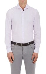 Barba Men's Gingham Cotton Shirt Light Purple