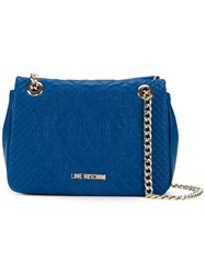 Love Moschino Embossed Medium Shoulder Bag Blue