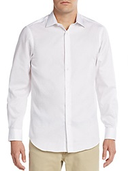 Report Collection Dobby Square Cotton Sport Shirt White