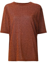 Maison Martin Margiela Mm6 Metallic Effect T Shirt Brown