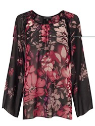 Adrianna Papell Black And Pink Floral Top Multi Coloured Multi Coloured