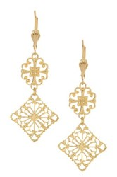 Yochi Design Filigree Geo Earrings Metallic