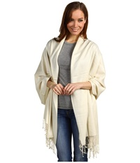 Betsey Johnson Cashmere Silk Real Pashmina Ivory Scarves White