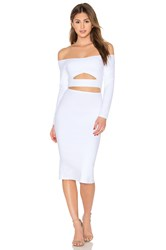Donna Mizani Long Sleeve Marilyn Cut Out Midi Dress White