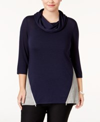 Belldini Plus Size High Low Colorblocked Top Navy Heather Grey Silver