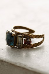 Anthropologie Miscone Crystal Cocktail Ring Navy