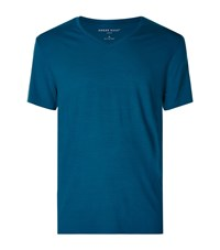 Derek Rose Basel V Neck T Shirt Male Blue