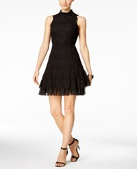 Betsy And Adam High Neck Lace A Line Dress Black Black
