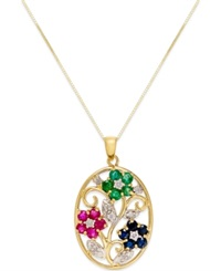 Macy's Multi Stone 1 3 8 C.T T.W. And Diamond 1 6 Ct. T.W. Pendant Necklace In 14K Gold