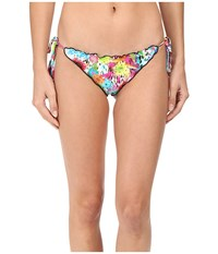 Luli Fama Paraiso Crystallized Wavey Ruched Back Brazilian Tie Side Bottom Multicolor Women's Swimwear