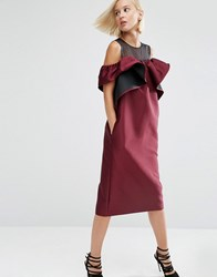 Asos White Off Shoulder Dress With Organza Panel Burgundy Black Red