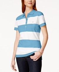 Tommy Hilfiger Rugby Striped Polo Top Placid Blue